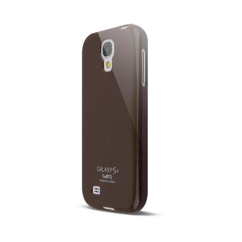 Brown w/ Glitter Shimmer Anti-Slip TPU Crystal Silicone Case + Free Screen Protector for Samsung Galaxy S4