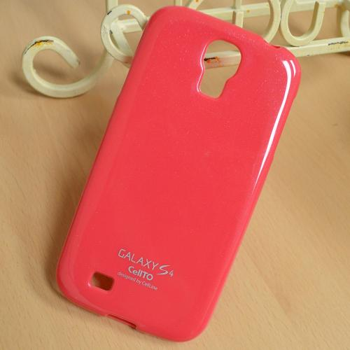 Hot Pink Anti-Slip TPU Crystal Silicone Case + Free Screen Protector for Samsung Galaxy S4