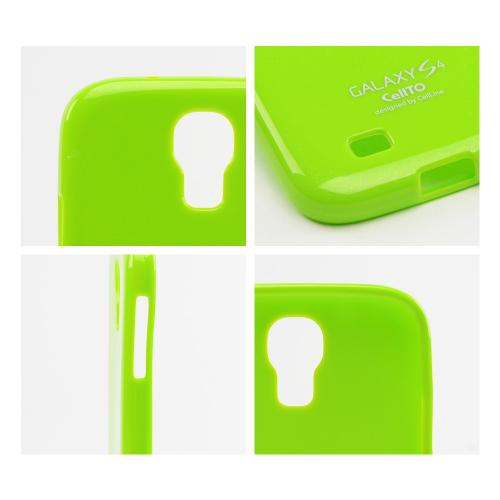 Lime Green Glitter Matte Crystal Silicone Skin Case for Samsung Galaxy S4