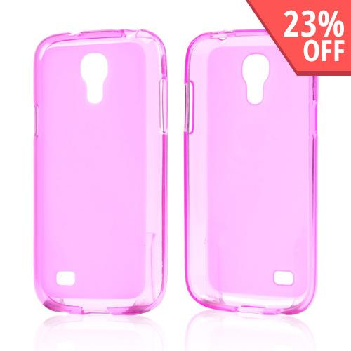 Hot Pink Frosted Back Crystal Silicone Skin Case for Samsung Galaxy S4 Mini