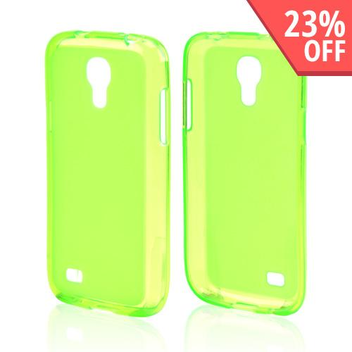 Neon Green Frosted Back Crystal Silicone Skin Case for Samsung Galaxy S4 Mini
