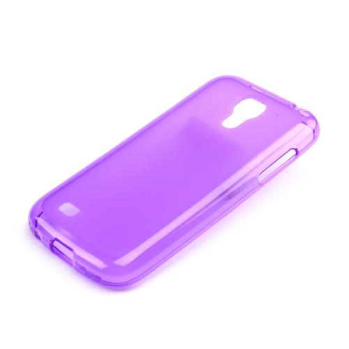 Purple Frosted Back Crystal Silicone Skin Case for Samsung Galaxy S4 Mini