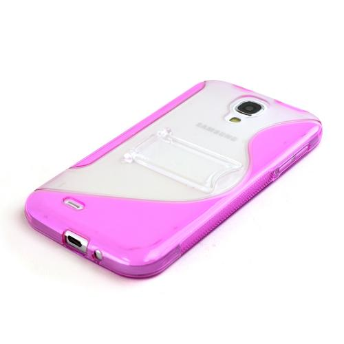 Pink/ Clear S Design Crystal Silicone Case w/ Kickstand for Samsung Galaxy S4