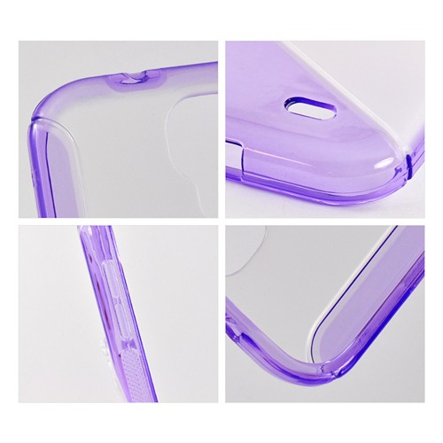 Purple/ Clear S Design Crystal Silicone Case w/ Kickstand for Samsung Galaxy S4