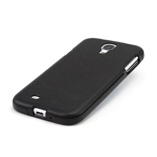 Black Crystal Silicone Skin Case w/ Textured Back for Samsung Galaxy S4