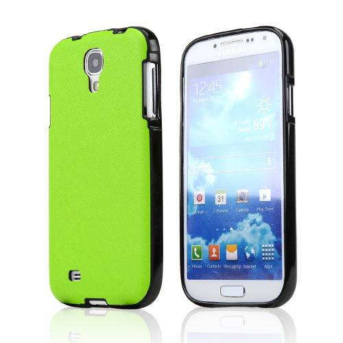Lime Green/ Black Crystal Silicone Skin Case w/ Textured Back for Samsung Galaxy S4