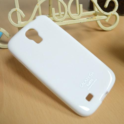 White w/ Glitter Shimmer Anti-Slip TPU Crystal Silicone Case + Free Screen Protector for Samsung Galaxy S4