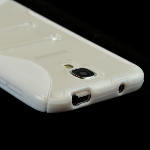 White/ Clear S Design Crystal Silicone Case w/ Kickstand for Samsung Galaxy S4