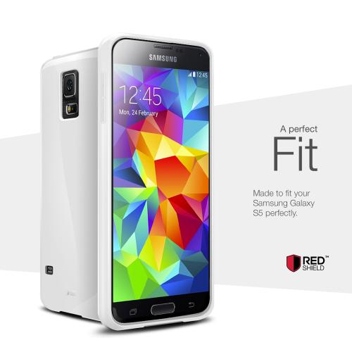 Solid White Exclusive RED SHIELD Anti-Slip TPU Crystal Silicone Case + Free Screen Protector for Samsung Galaxy S5