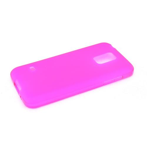 Hot Pink/ Frost Samsung Galaxy S5 Mini Flexible Crystal Silicone TPU Case - Conforms To Your Phone Without Stretching Out!