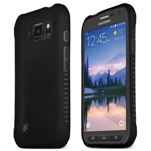 Samsung Galaxy S6 Active Case, BLACK Slim & Flexible Anti-shock Crystal Silicone TPU Skin Protective Case