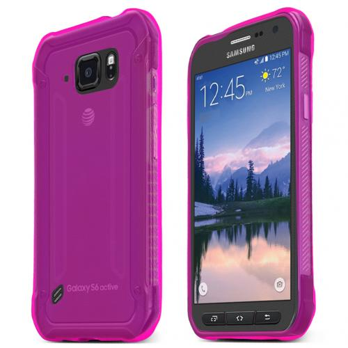 Samsung Galaxy S6 Active Case, HOT PINK Slim & Flexible Anti-shock Crystal Silicone TPU Skin Protective Case