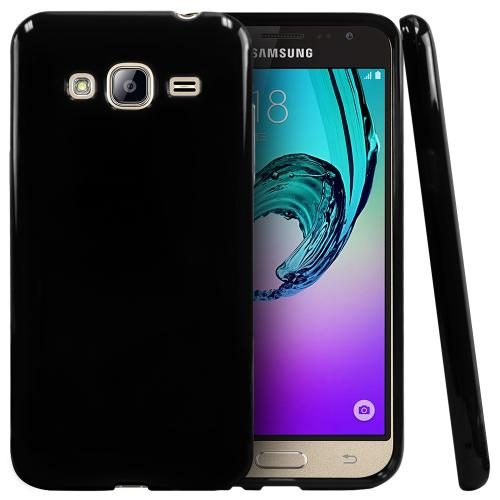 Samsung Galaxy J3 Case, [Black] Slim & Flexible Anti-shock Crystal Silicone Protective TPU Gel Skin Case Cover