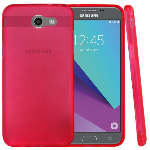 Samsung Galaxy J3 Emerge Case, Slim & Flexible Anti-shock Crystal Silicone Protective TPU Gel Skin Case Cover [Hot Pink] with Travel Wallet Phone Stand