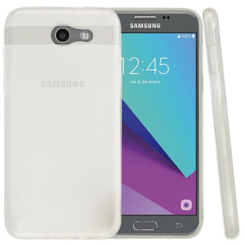 Samsung Galaxy J3 Emerge Case, Slim & Flexible Anti-shock Crystal Silicone Protective TPU Gel Skin Case Cover [White]