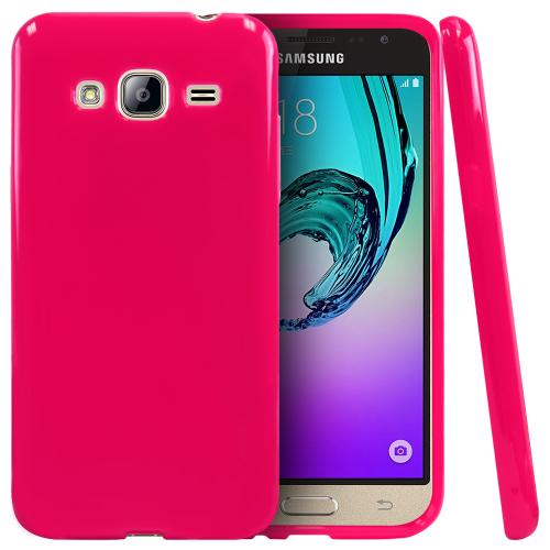 Samsung Galaxy J3 Case, [Hot Pink] Slim & Flexible Anti-shock Crystal Silicone Protective TPU Gel Skin Case Cover