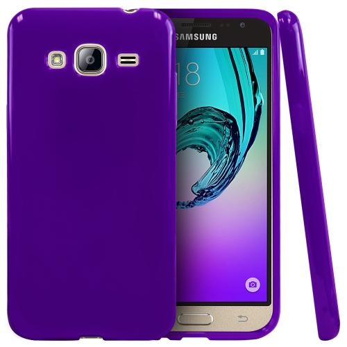 Samsung Galaxy J3 Case, [Purple] Slim & Flexible Anti-shock Crystal Silicone Protective TPU Gel Skin Case Cover