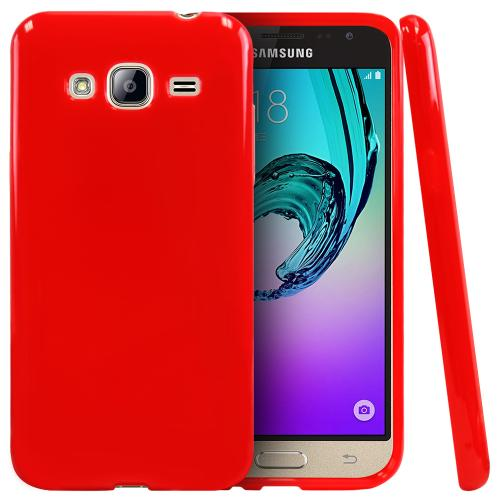 Samsung Galaxy J3 Case, [Red] Slim & Flexible Anti-shock Crystal Silicone Protective TPU Gel Skin Case Cover