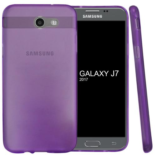 Samsung Galaxy J7 [2017]/ Galaxy J7 Perx Case, Slim & Flexible Anti-shock Crystal Silicone Protective TPU Gel Skin Case Cover [Purple] with Travel Wallet Phone Stand
