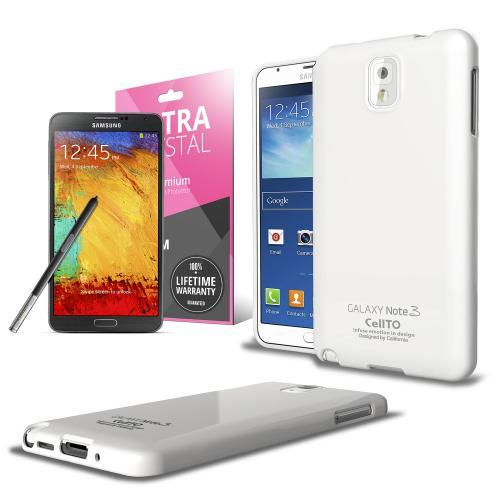 Solid White Anti-Slip TPU Crystal Silicone Skin Case & Free Screen Protector for Samsung Galaxy Note 3