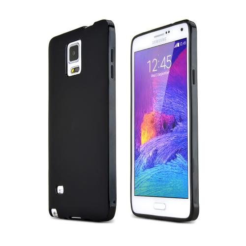Samsung Galaxy Note 4 Case,  [Black]  Slim & Flexible Anti-shock Crystal Silicone Protective TPU Gel Skin Case Cover