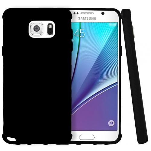 Samsung Galaxy Note 5, [Black]  Slim & Flexible Anti-shock Crystal Silicone Protective TPU Gel Skin Case Cover