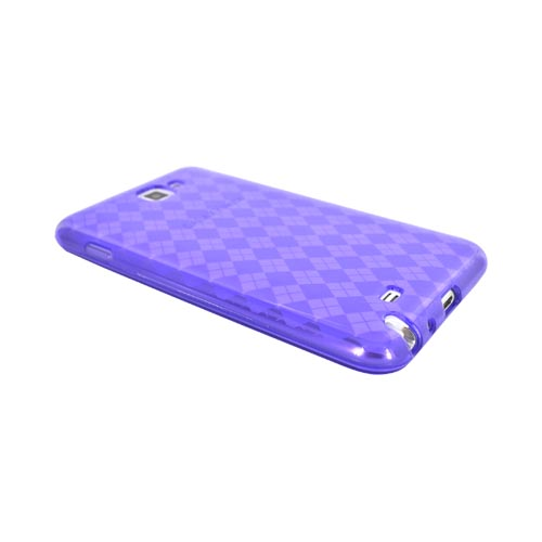 Samsung Galaxy Note Crystal Silicone Case - Argyle Purple