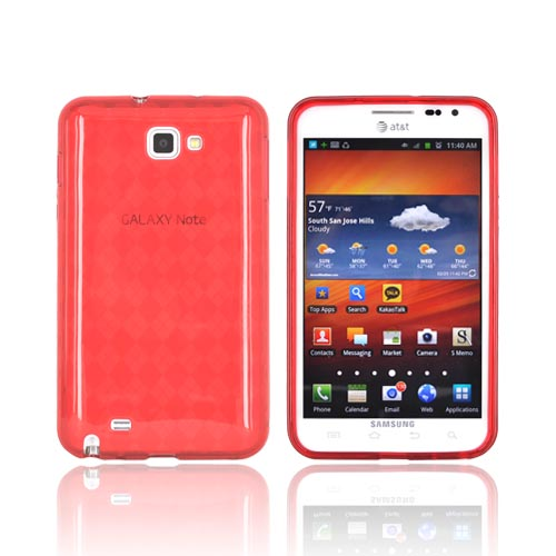 Samsung Galaxy Note Crystal Silicone Case - Argyle Red