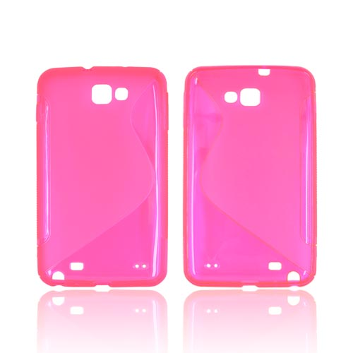 Samsung Galaxy Note Crystal Silicone Case - Transparent Hot Pink & Frost Hot Pink S