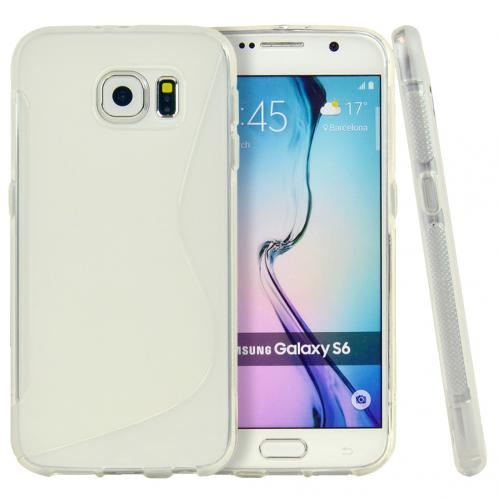 Samsung Galaxy S6 Case,  [Clear S Design]  Slim & Flexible Anti-shock Crystal Silicone Protective TPU Gel Skin Case Cover