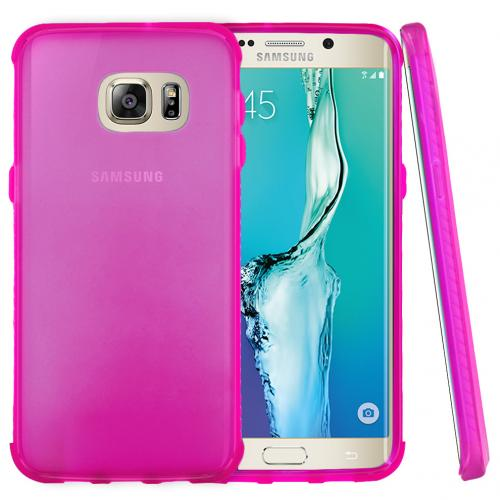 Samsung Galaxy S6 Edge Plus,  [Hot Pink]  Slim & Flexible Anti-shock Crystal Silicone Protective TPU Gel Skin Case Cover