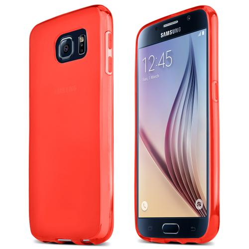 Samsung Galaxy S6 Case,  [Red]  Slim & Flexible Anti-shock Crystal Silicone Protective TPU Gel Skin Case Cover