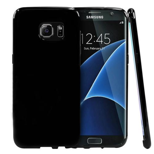 Samsung Galaxy S7 Edge Case,  [Black]  Slim & Flexible Anti-shock Crystal Silicone Protective TPU Gel Skin Case Cover