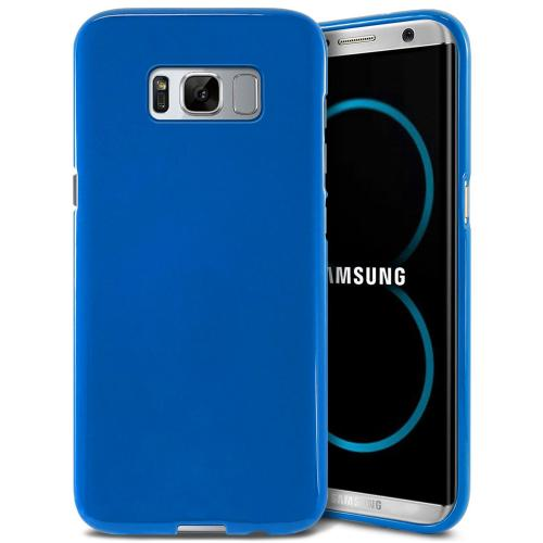 Samsung Galaxy S8 Case, [REDshield] Slim & Flexible Anti-shock Crystal Silicone Protective TPU Gel Skin Case Cover [Blue] with Travel Wallet Phone Stand