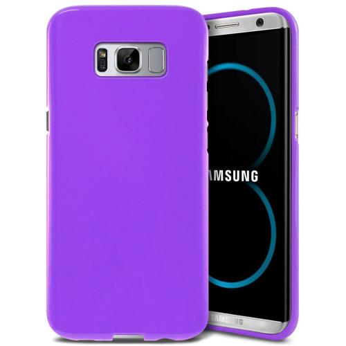 Samsung Galaxy S8 Plus Case, [REDshield] Slim & Flexible Anti-shock Crystal Silicone Protective TPU Gel Skin Case Cover [Purple] with Travel Wallet Phone Stand