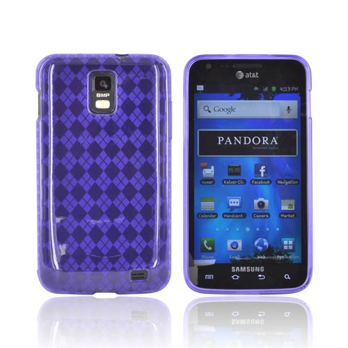 Samsung Galaxy S2 Skyrocket Crystal Silicone Case - Purple (Argyle Interior)
