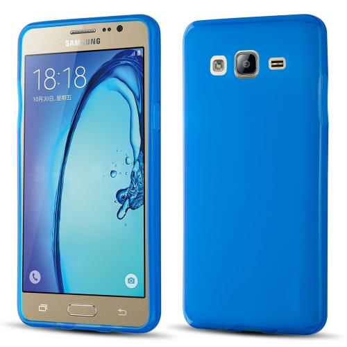 Samsung Galaxy On5 Case, Slim & Flexible Anti-shock Crystal Silicone Protective TPU Gel Skin Case Cover [Blue]