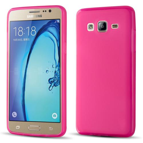 Samsung Galaxy On5 Case, Slim & Flexible Anti-shock Crystal Silicone Protective TPU Gel Skin Case Cover [Hot Pink]