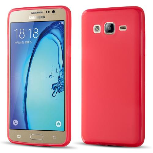 Samsung Galaxy On5 Case, Slim & Flexible Anti-shock Crystal Silicone Protective TPU Gel Skin Case Cover [Red]