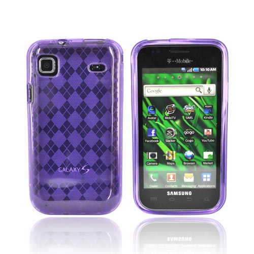 Samsung Vibrant/Galaxy S 4G Crystal Silicone Case - Argyle Purple