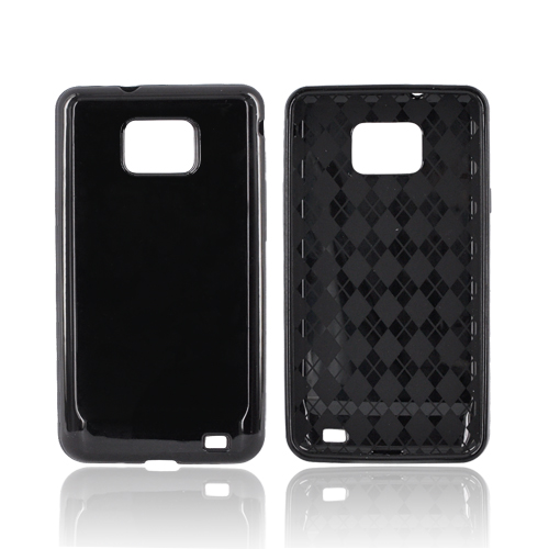 AT&T Samsung Galaxy S2 Crystal Silicone Case - Black (Argyle Interior)