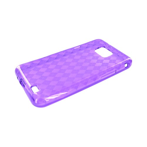 AT&T Samsung Galaxy S2 Crystal Silicone Case - Purple Argyle