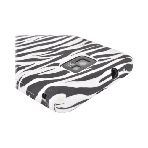 AT&T Samsung Galaxy S2 Crystal Silicone Case - Black/ White Zebra (Argyle Interior)