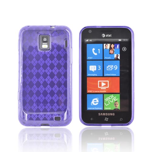 Samsung Focus S i937 Crystal Silicone Case - Argyle Purple