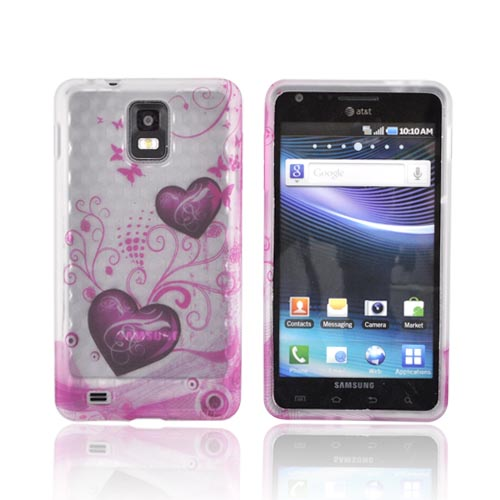 Samsung Infuse 4G i997 Crystal Silicone Case - Pink Hearts & Butterflies on Frost White