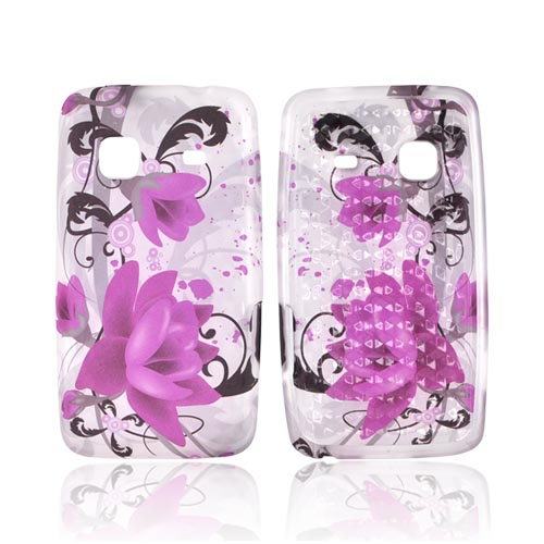 Samsung Galaxy Prevail M820 Crystal Silicone Case - Pink Flowers on Frost White