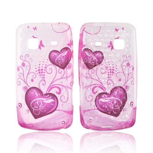 Samsung Galaxy Prevail M820 Crystal Silicone Case - Pink Hearts & Butterflies on Frost White