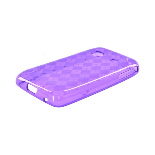 Samsung Prevail M820 Crystal Silicone Case - Purple Argyle