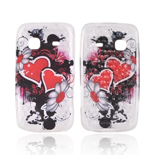 Samsung Galaxy Prevail M820 Crystal Silicone Case - Red Hearts & Flowers on Frost White