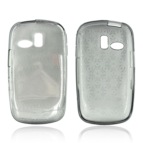 Samsung Freeform R350/R351 Crystal Silicone Case - Snowflake Design Pattern on Transparent Smoke